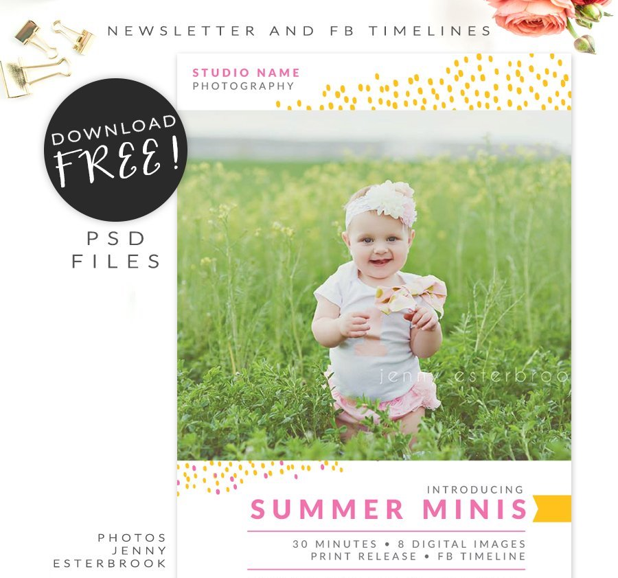 Free Newsletter template and Facebook timelines