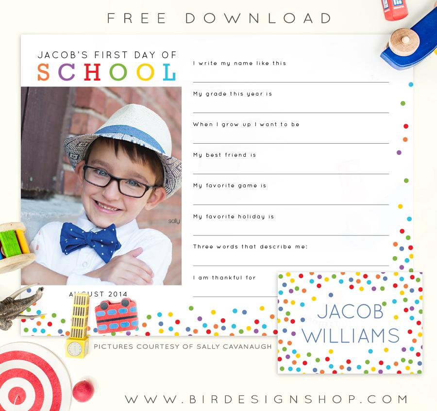 First Day of School freebie!