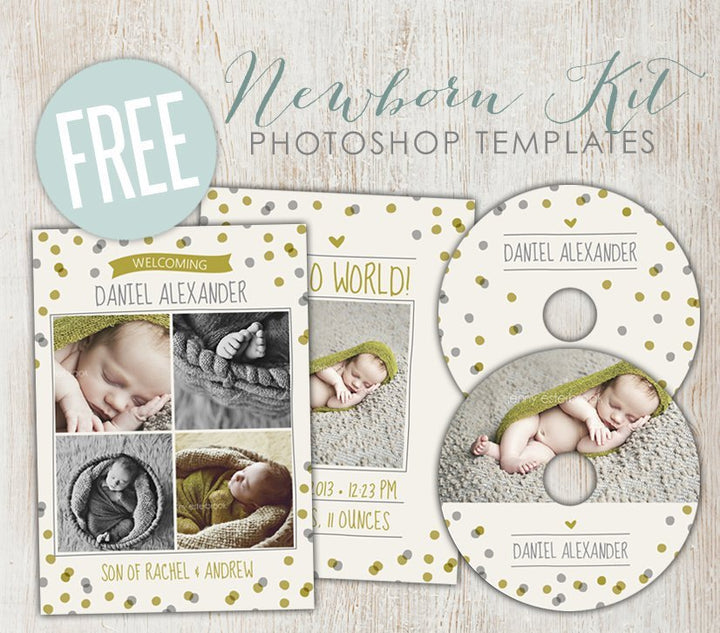 Free Newborn Kit templates - July Freebie