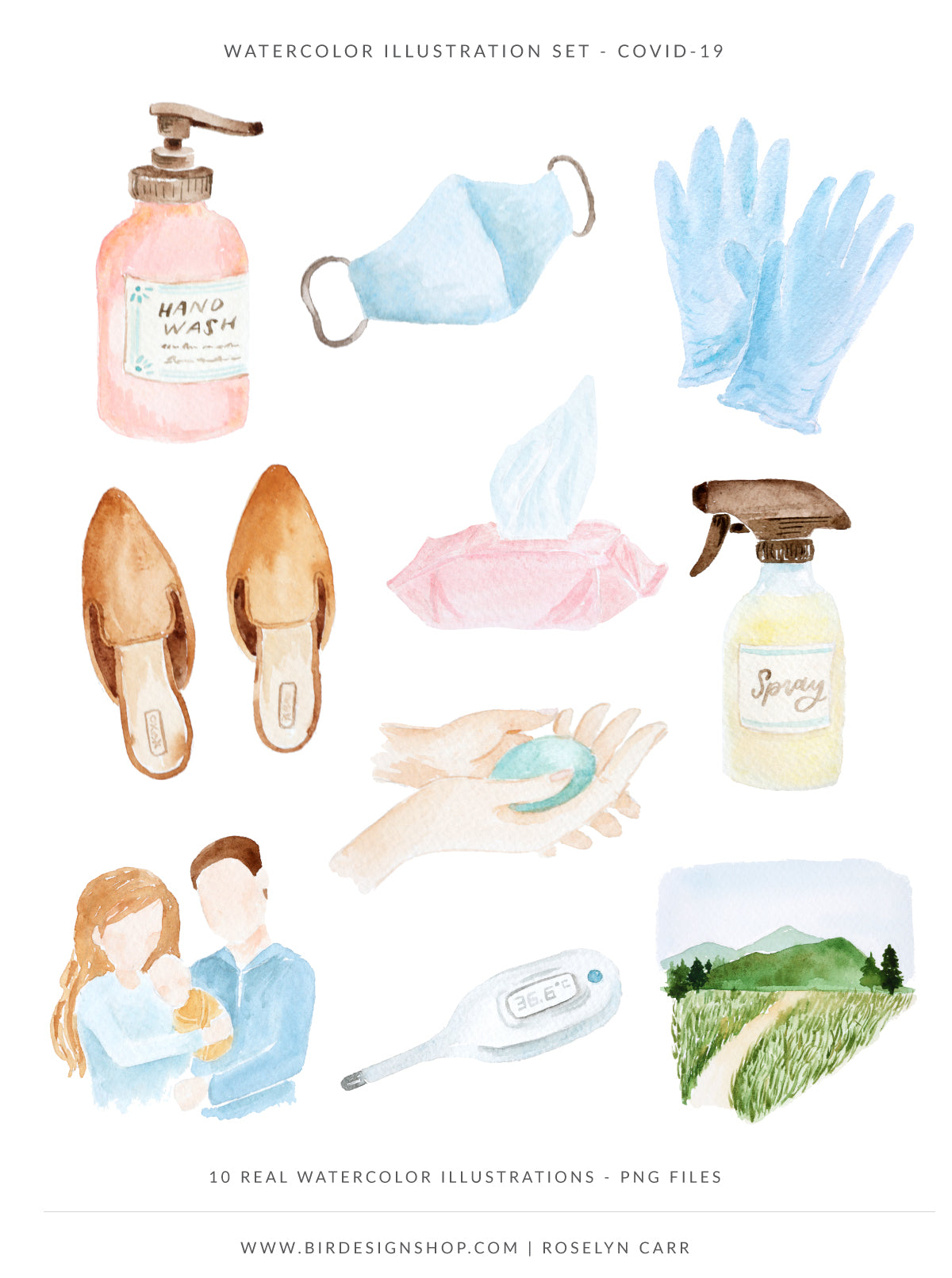 Covid-19 Safety Guidelines Watercolor Illustrations