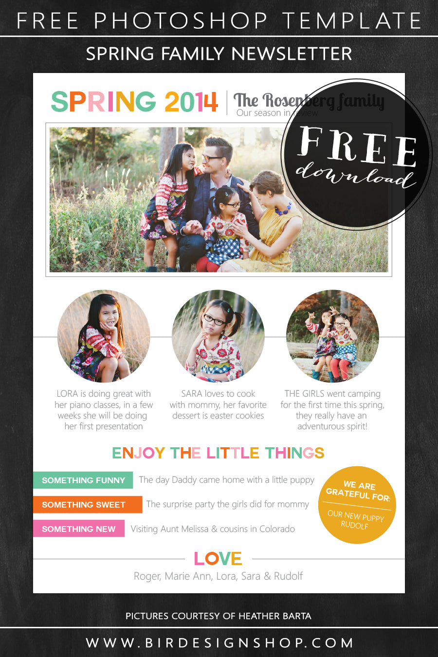 Spring family newsletter - free photoshop template – Birdesign