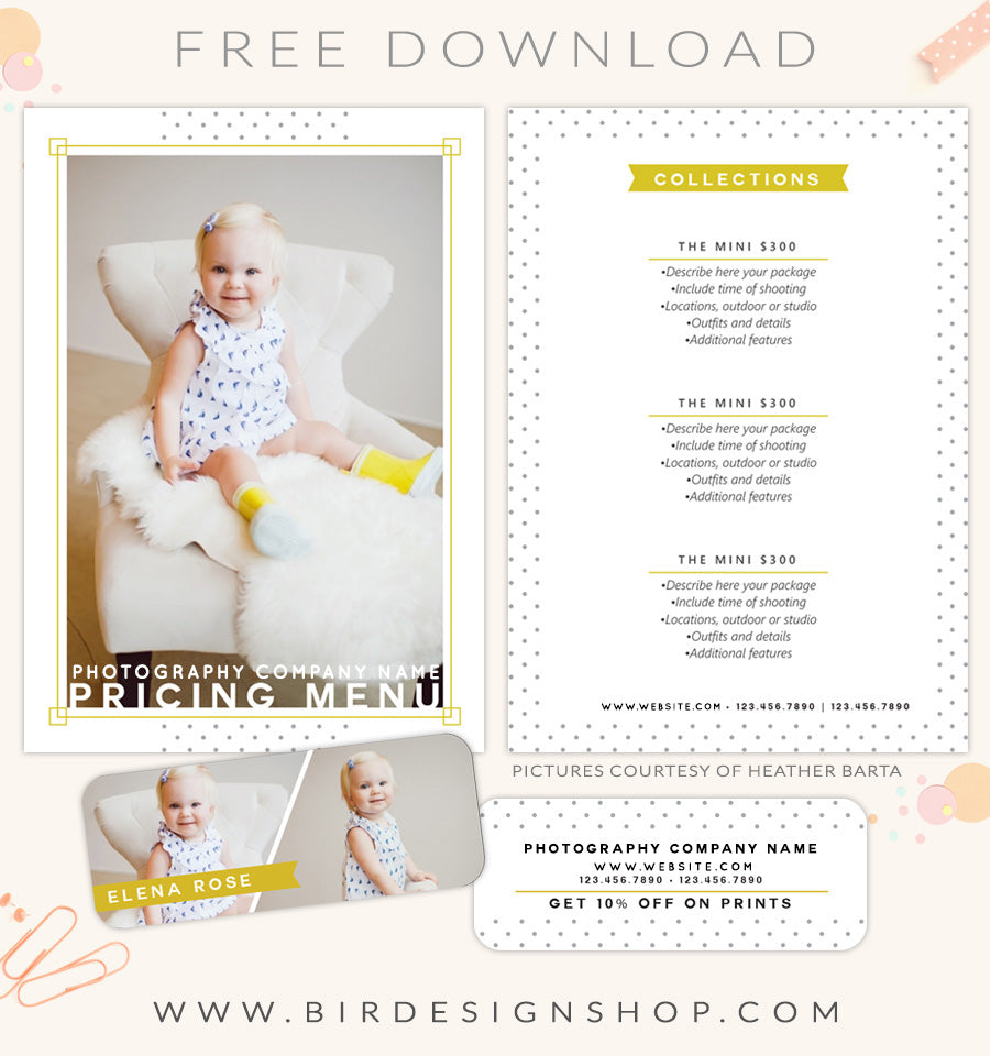 free pricing menu template birdesign