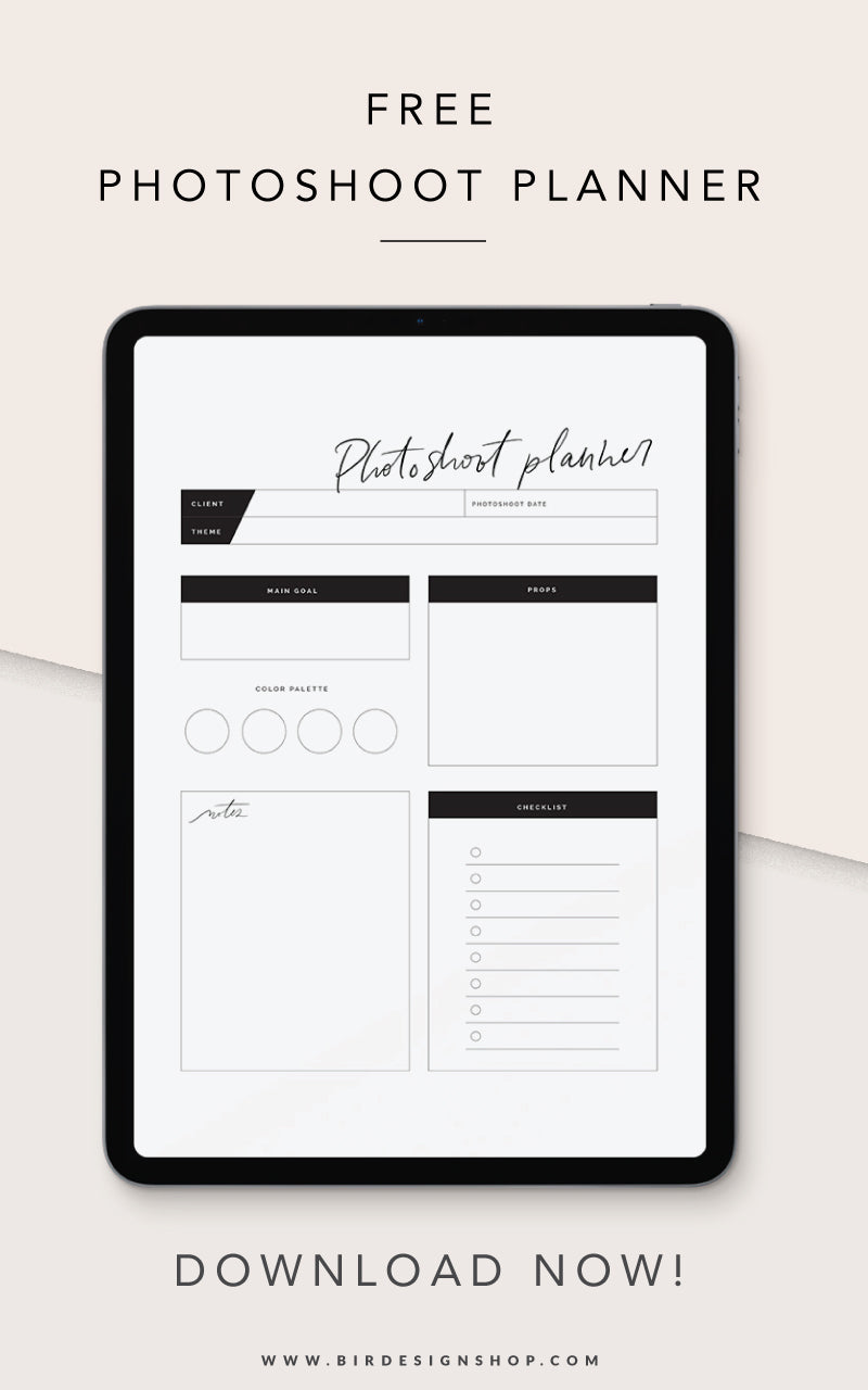 Free Photoshoot Planner - Download now