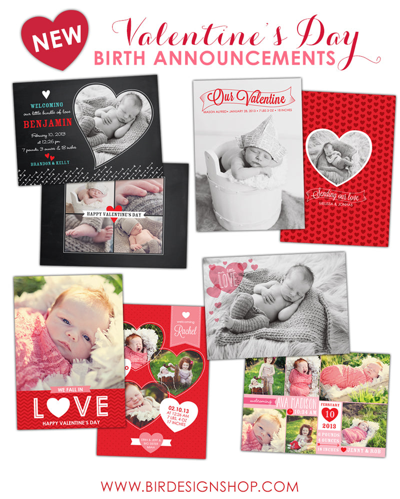 Valentine Birth Announcements Photoshop templates