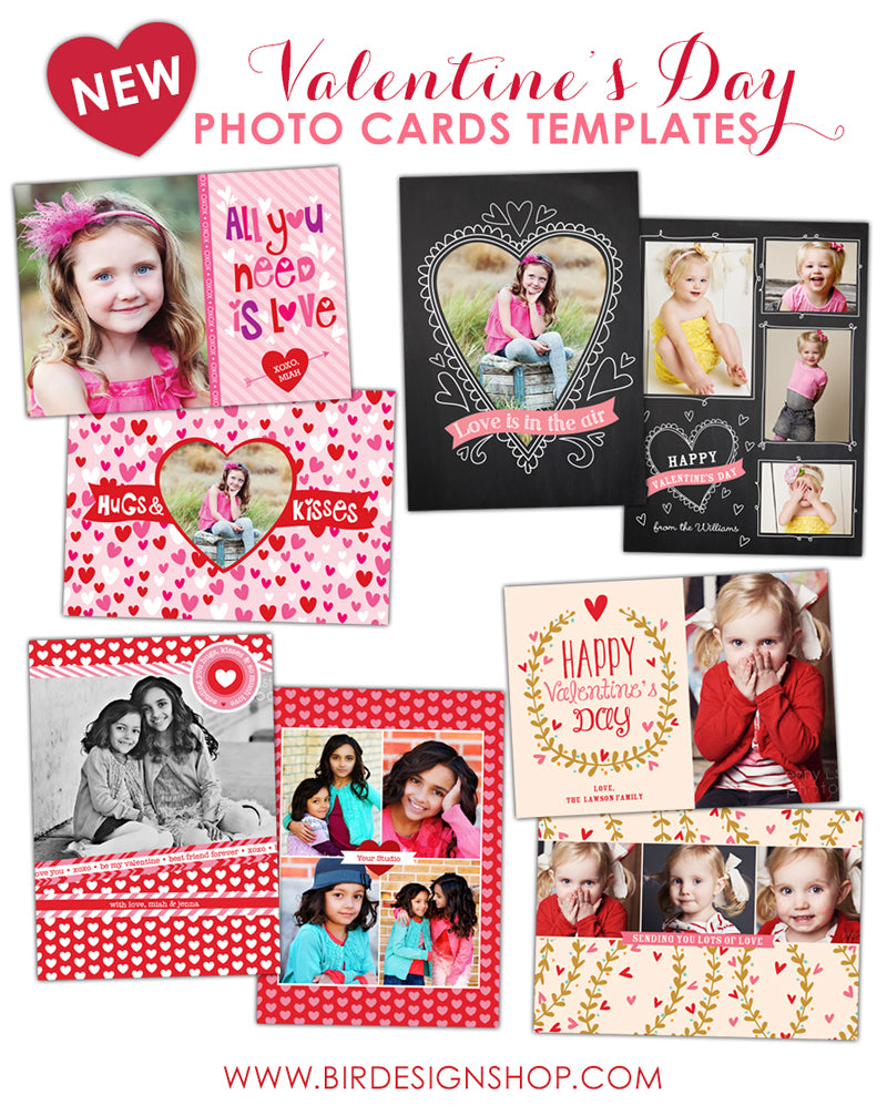 Valentine Greeting Cards Photoshop templates