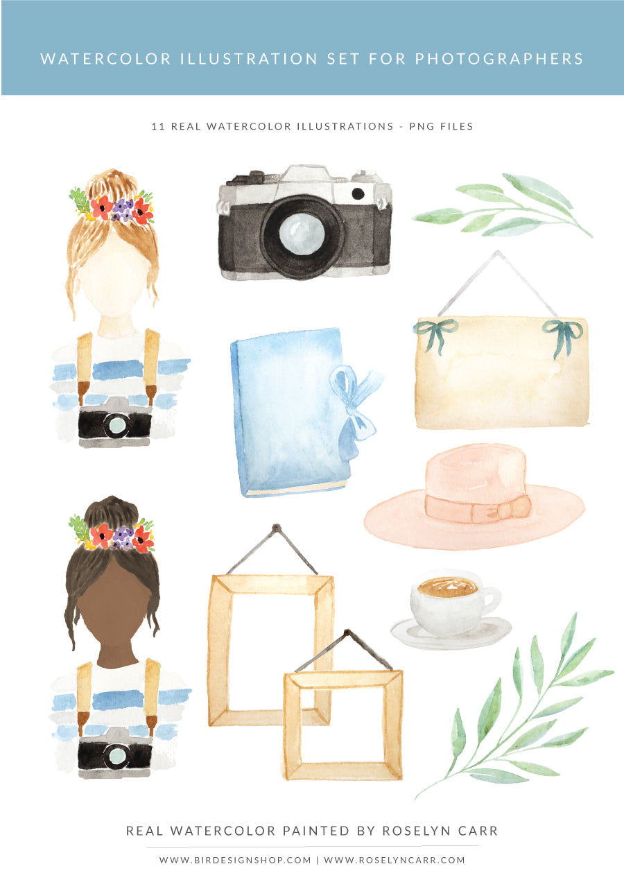 watercolor illustrations pack for photographers - retro camera