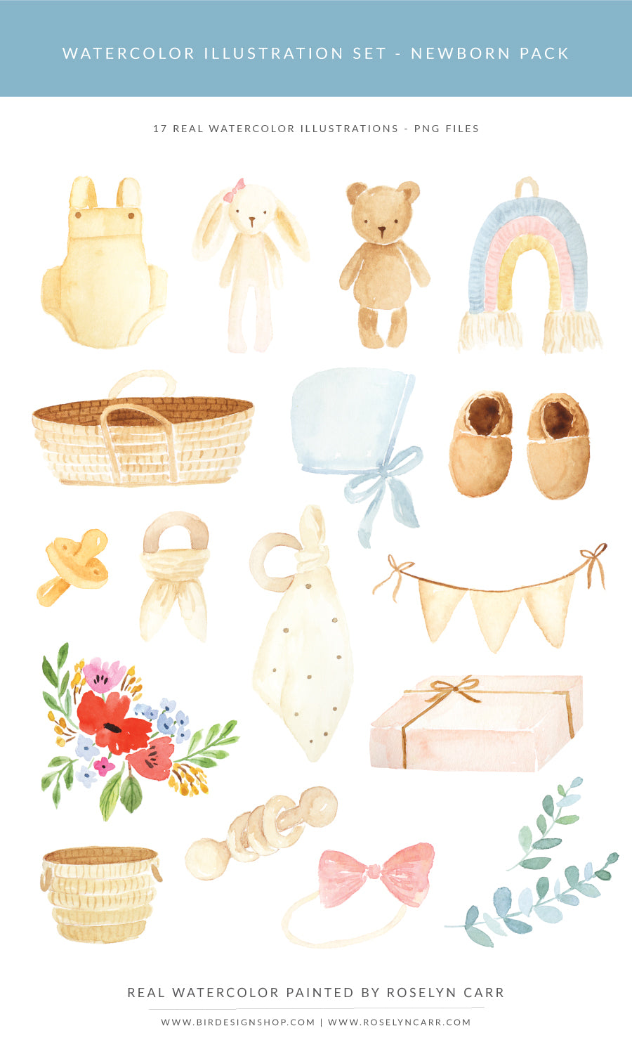 Watercolor Illustrations pack - PNG files - newborn and baby theme