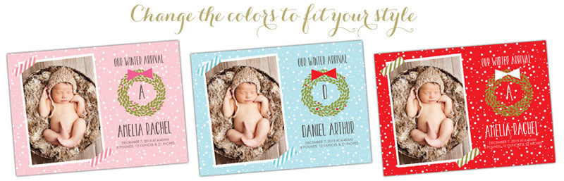 Photoshop Templates Christmas Birth Announcements