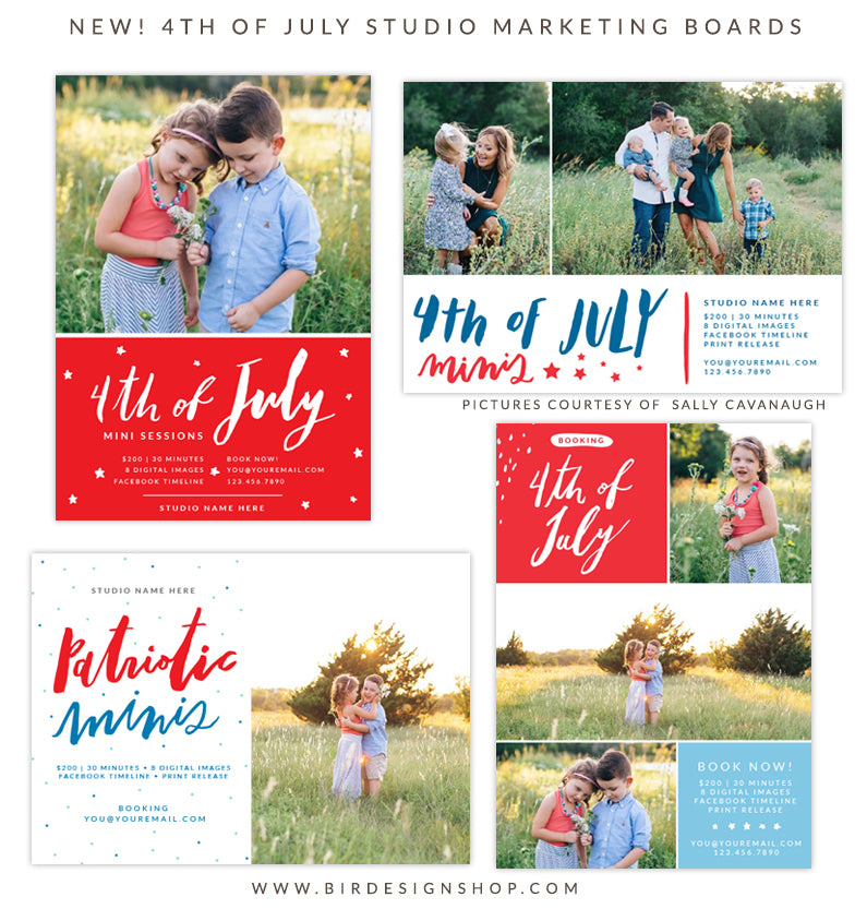 4th of july mini sessions marketing boards