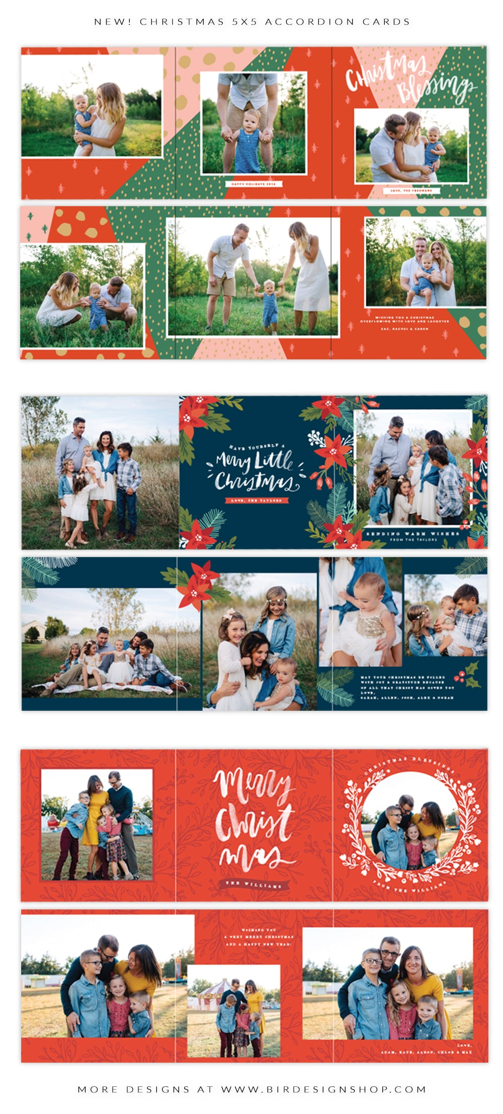 christmas 5x5 accordion card templates