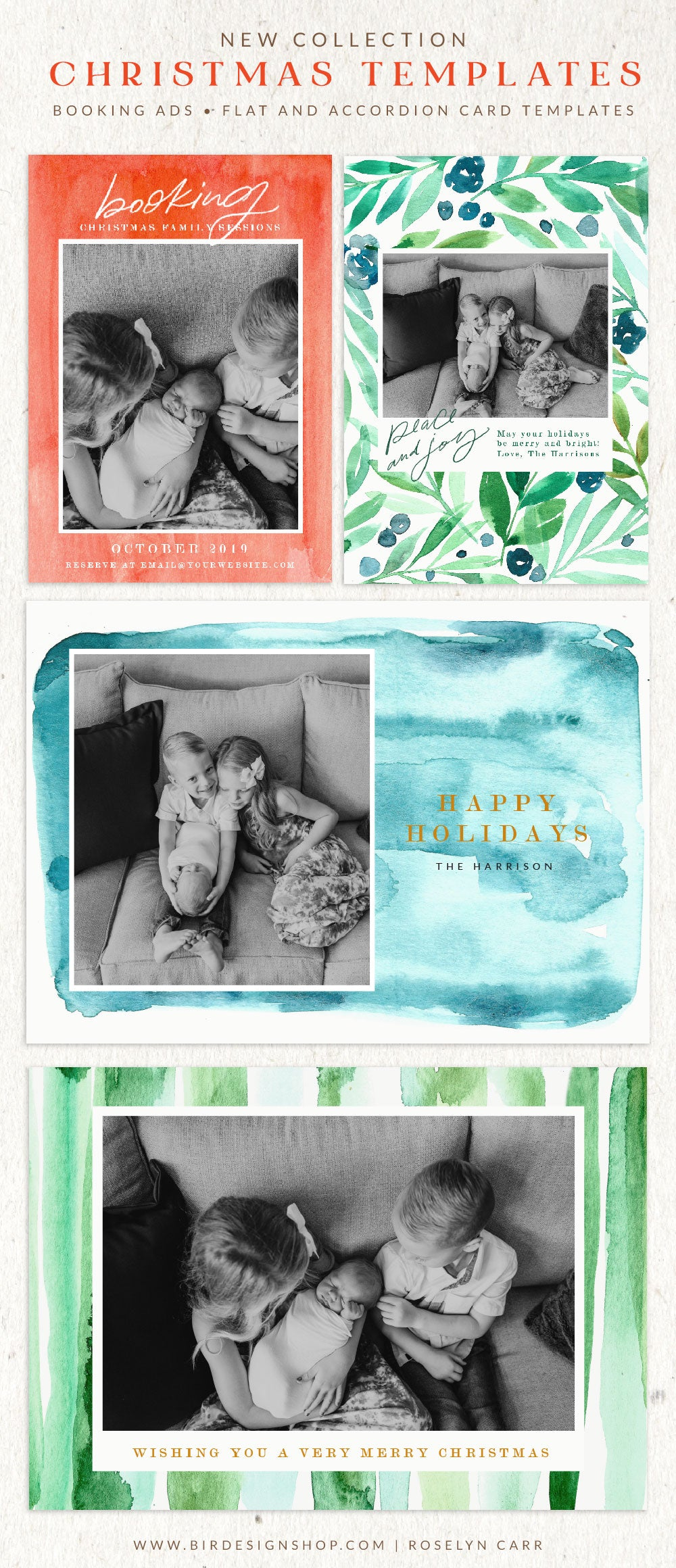 Christmas Photocards Templates - Watercolors