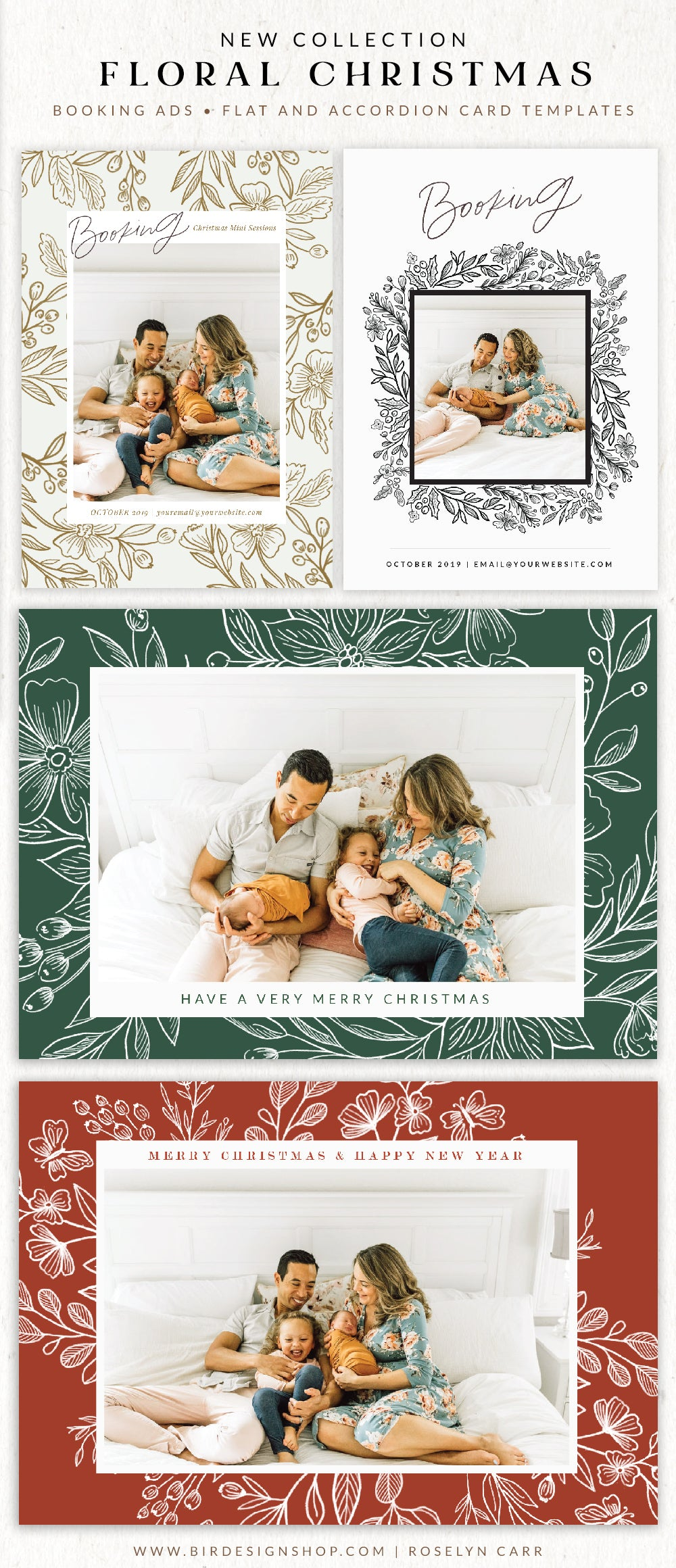 Floral Elegance Christmas Photo Cards templates for Photoshop