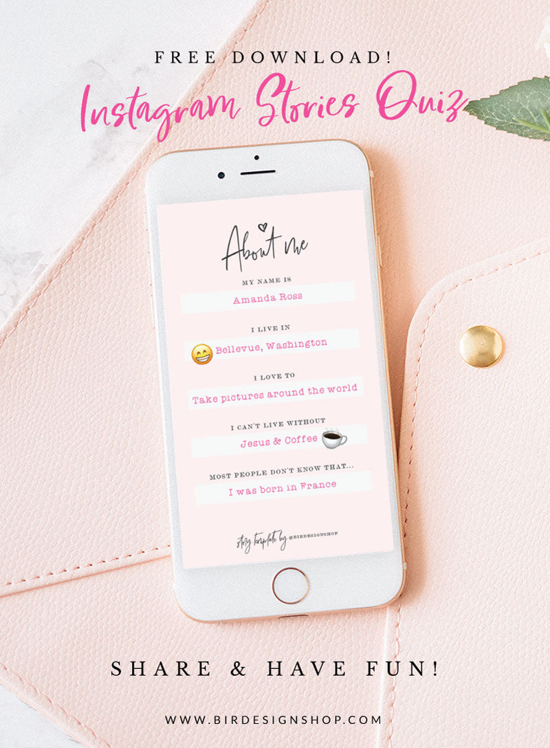 Instagram Stories Quiz for photographers - FREE Download