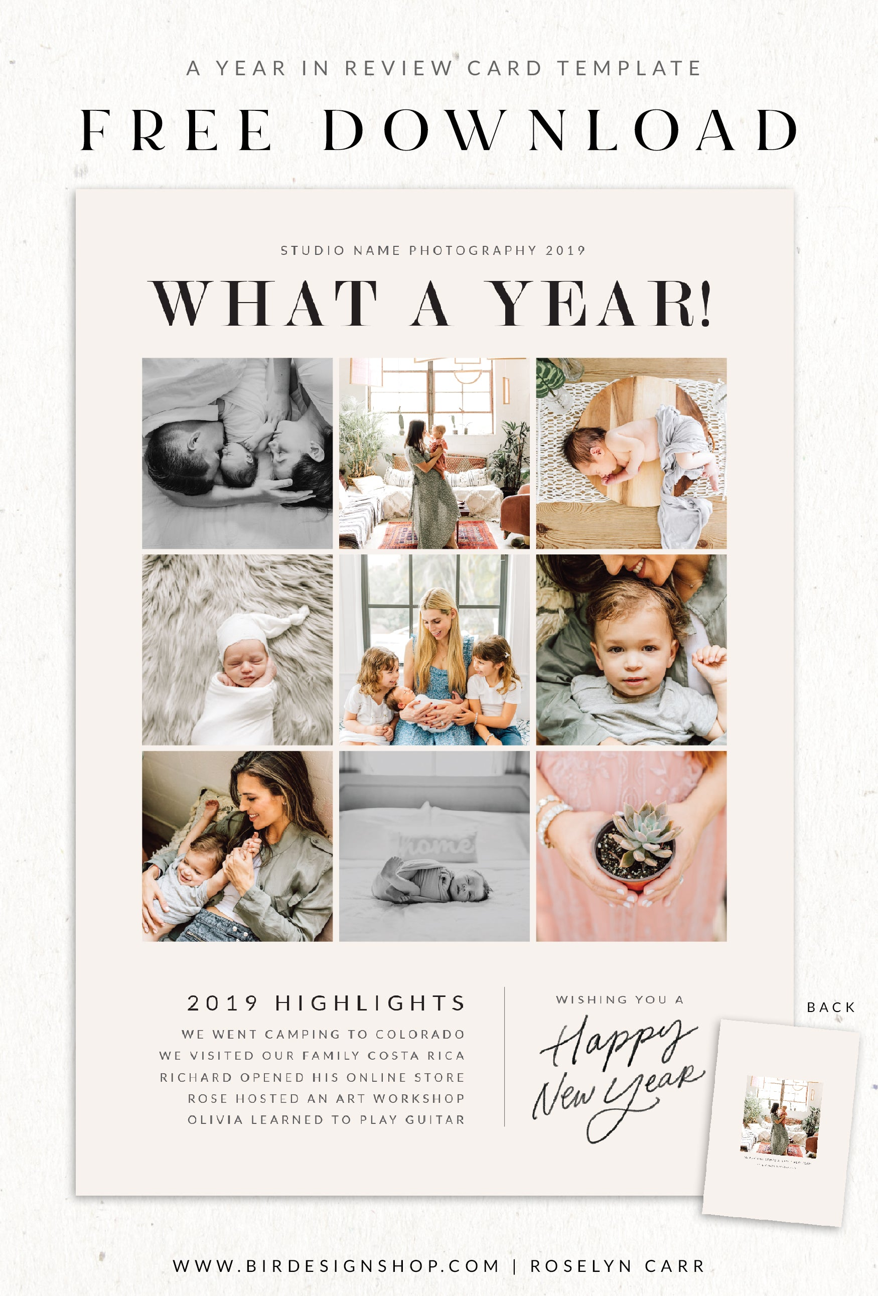 Free a year in review card template
