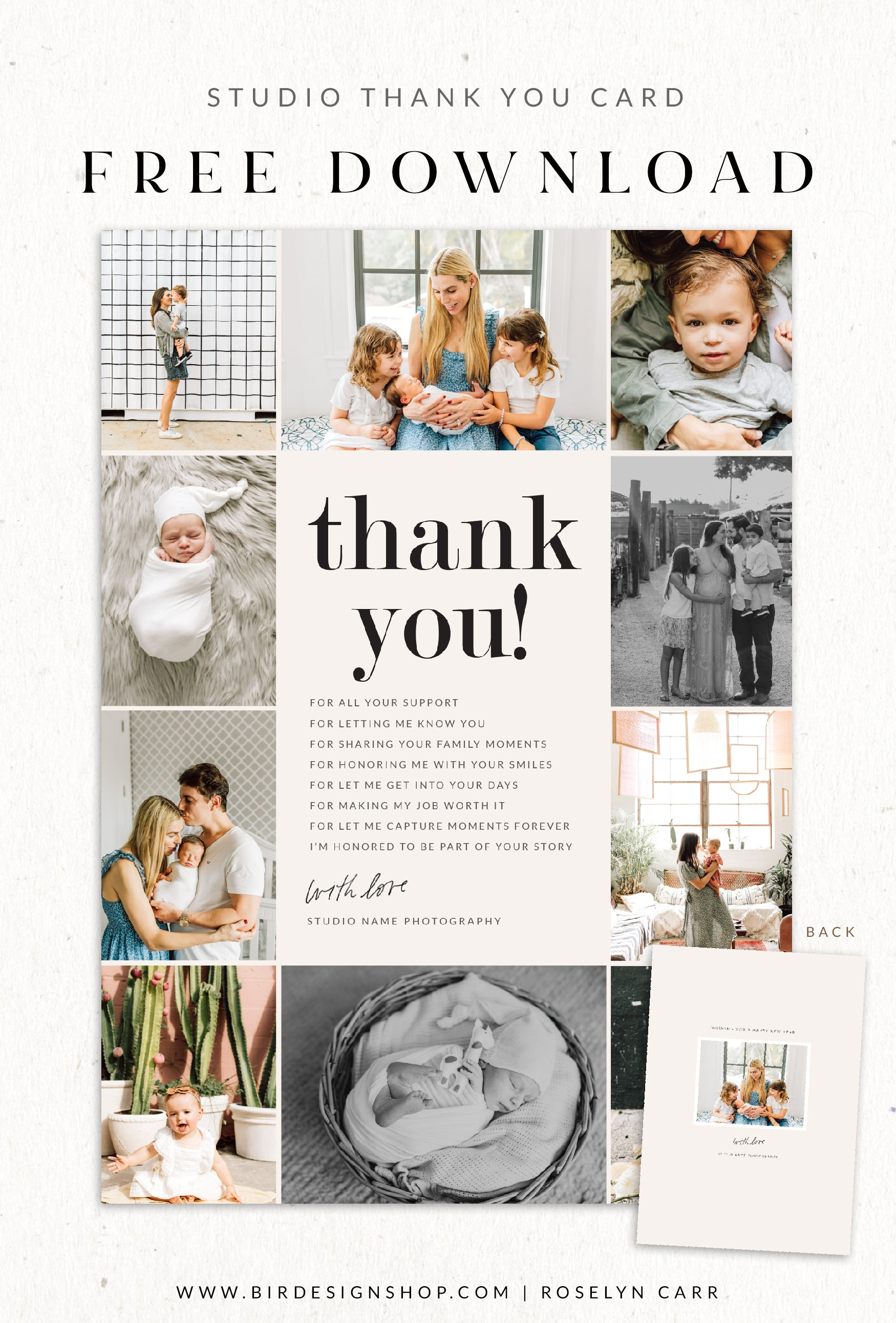 Free Thank you card template psd