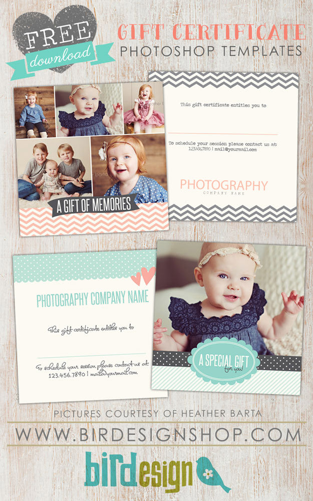 Free Gift Certificate template Photoshop – Birdesign