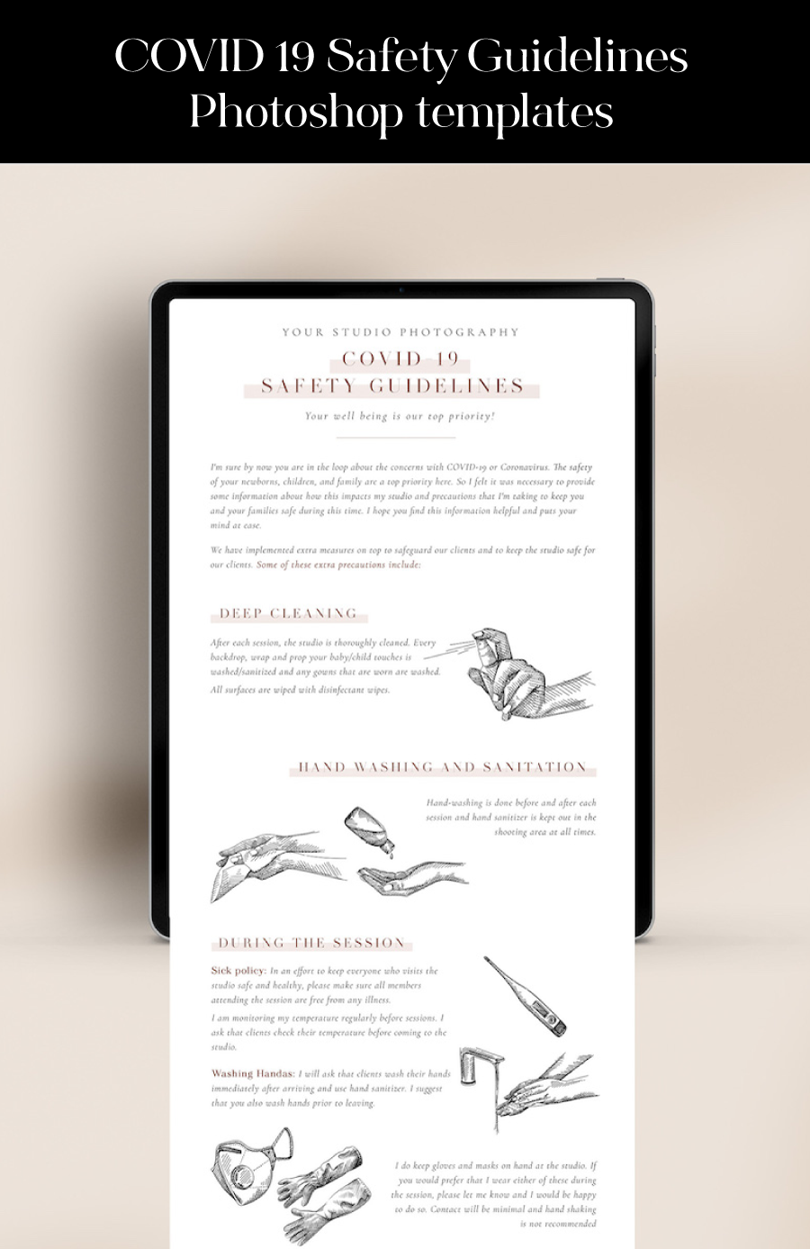 covid safety guidelines studio photography template