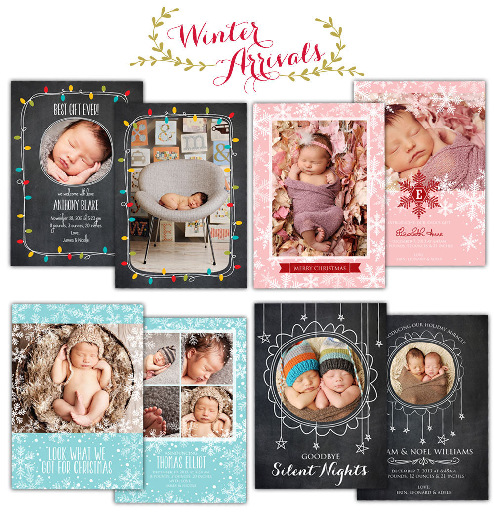 Christmas Birth announcements Photoshop Templates