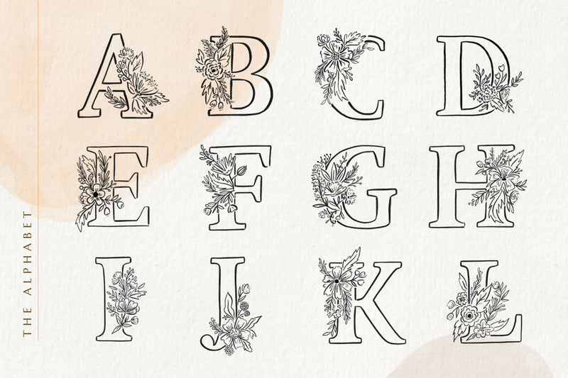 Floralia Botanic Alphabeth Font + Illustrations