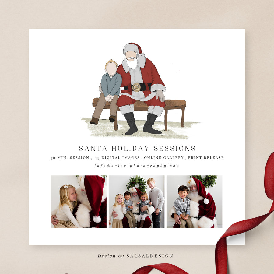 Christmas Minis Session Template | Santa's bench