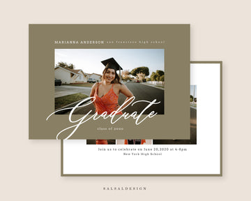 Graduation Senior Announcement Card Photoshop Template - Marianna
