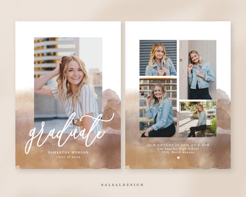 Graduation Senior Announcement Card Photoshop Template - Boho Watercolor