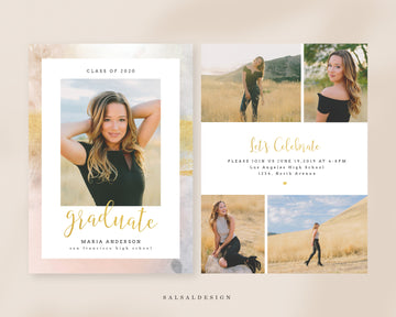 Graduation Senior Announcement Card Photoshop Template - Pastels