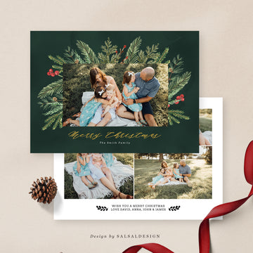 Christmas 5x7 Photo Card | Dark green