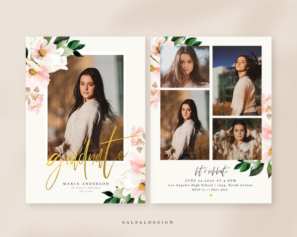 Graduation Senior Announcement Card Photoshop Template - Blush and Tender