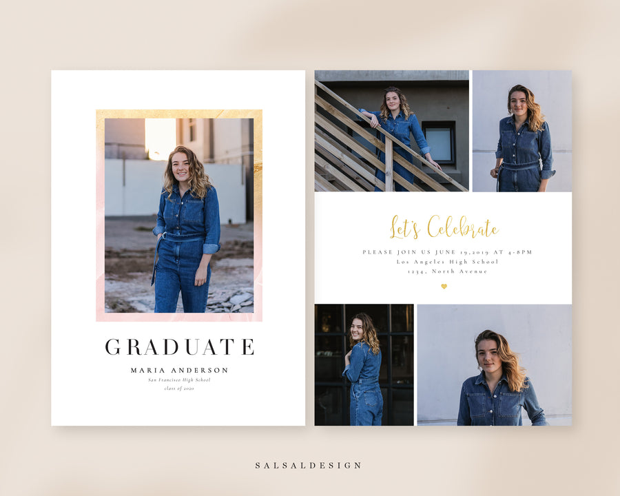 Graduation Senior Announcement Card Photoshop Template - Denim Style