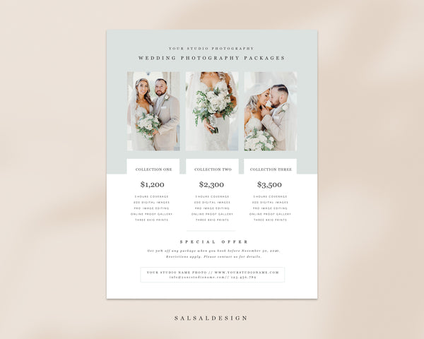 Wedding Photography Pricing List Sheet