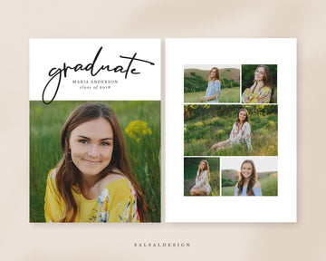 Graduation Senior Announcement Card Photoshop Template - Maria