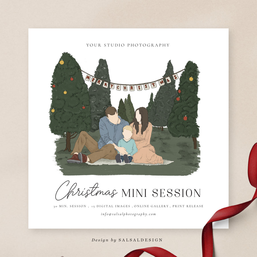 Christmas Minis Session Template | Christmas Picnic