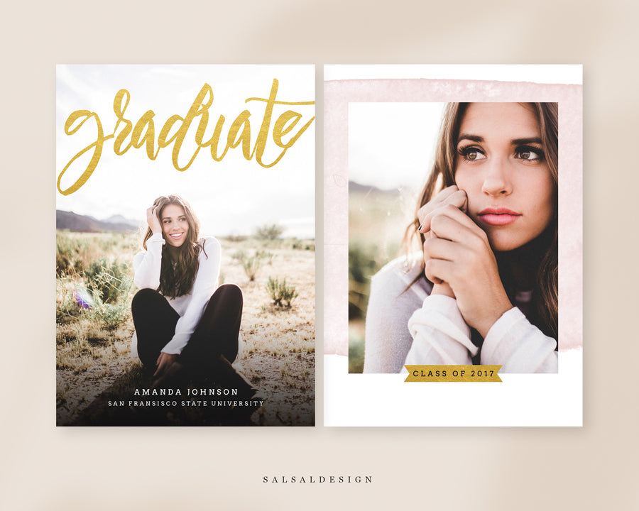 Graduation Senior Announcement Card Photoshop Template - Gold