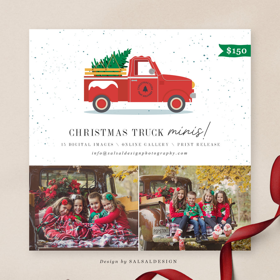 Christmas Minis Session Template | Christmas Truck