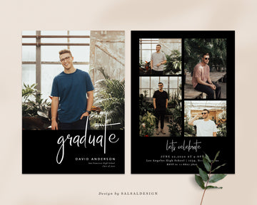 Graduation Senior Announcement Card Photoshop Template - Black