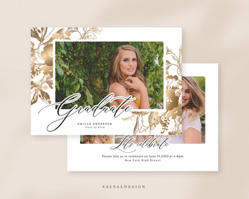 Graduation Senior Announcement Card Photoshop Template - Goldish