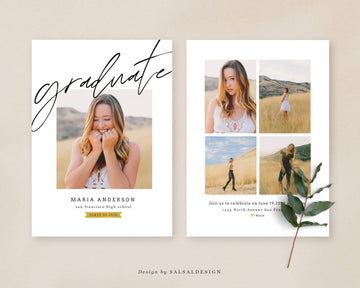 Graduation Senior Announcement Card Photoshop Template - Fresh