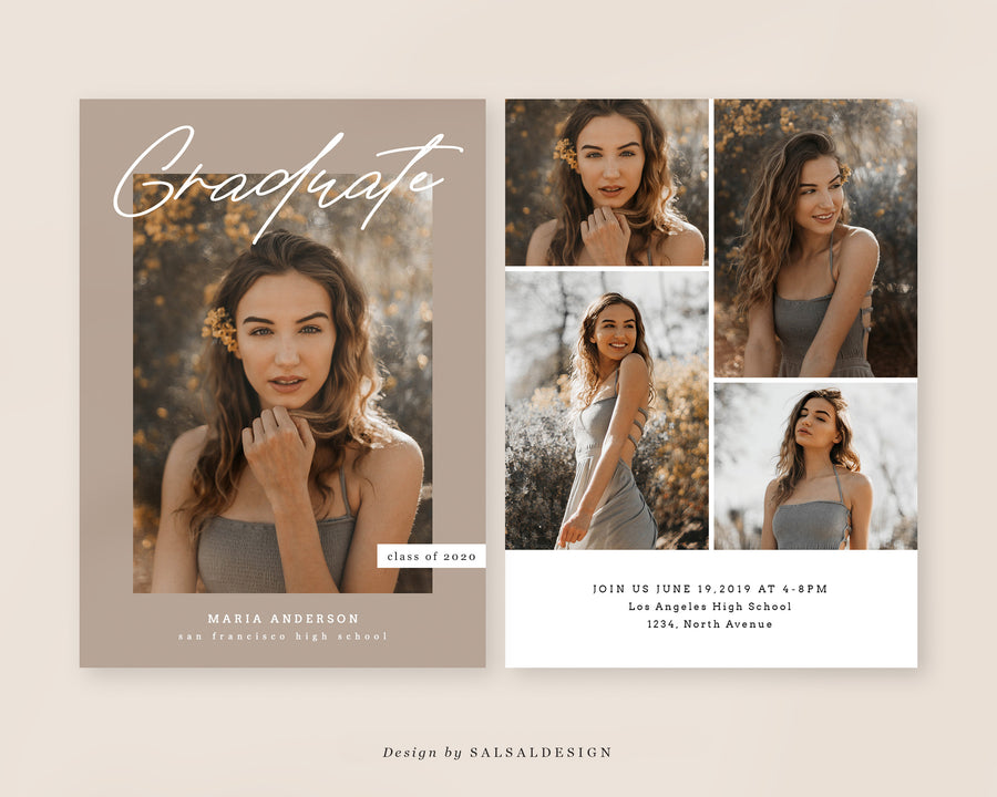 Graduation Senior Announcement Card Photoshop Template - Sienna