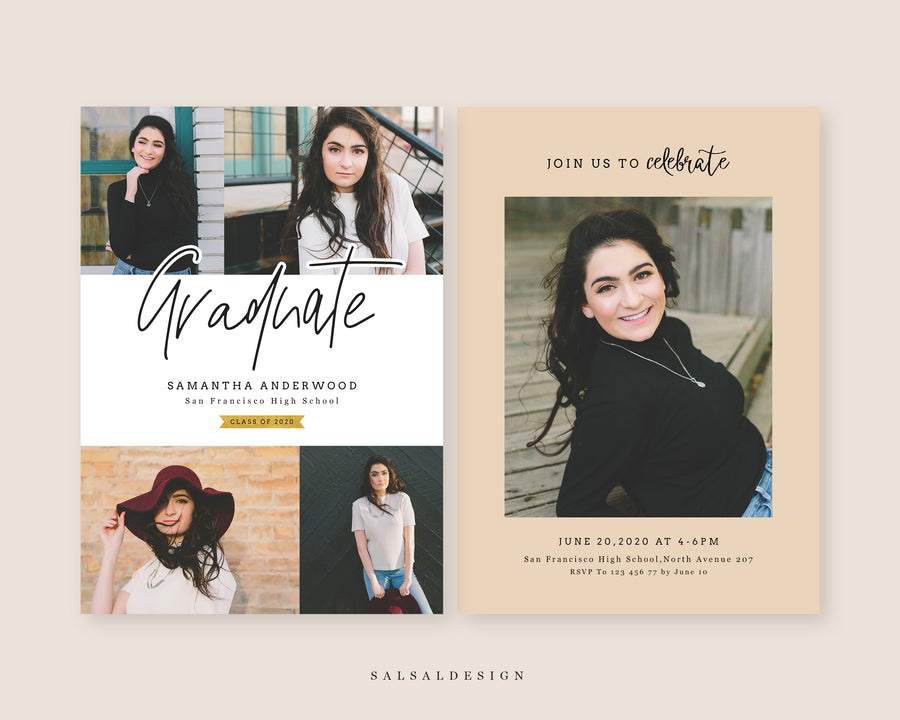 Graduation Senior Announcement Card Photoshop Template - Samantha