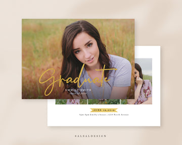Graduation Senior Announcement Card Photoshop Template - Emmily