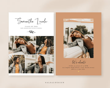 Graduation Senior Announcement Card Photoshop Template - Orange mood