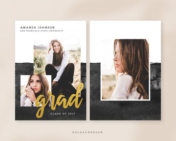 Graduation Senior Announcement Card Photoshop Template - Amanda