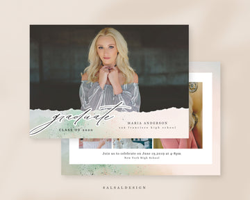 Graduation Senior Announcement Card Photoshop Template - Beach vibes
