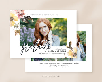 Graduation Senior Announcement Card Photoshop Template - Sweet Spring