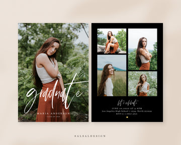 Graduation Senior Announcement Card Photoshop Template - Costa