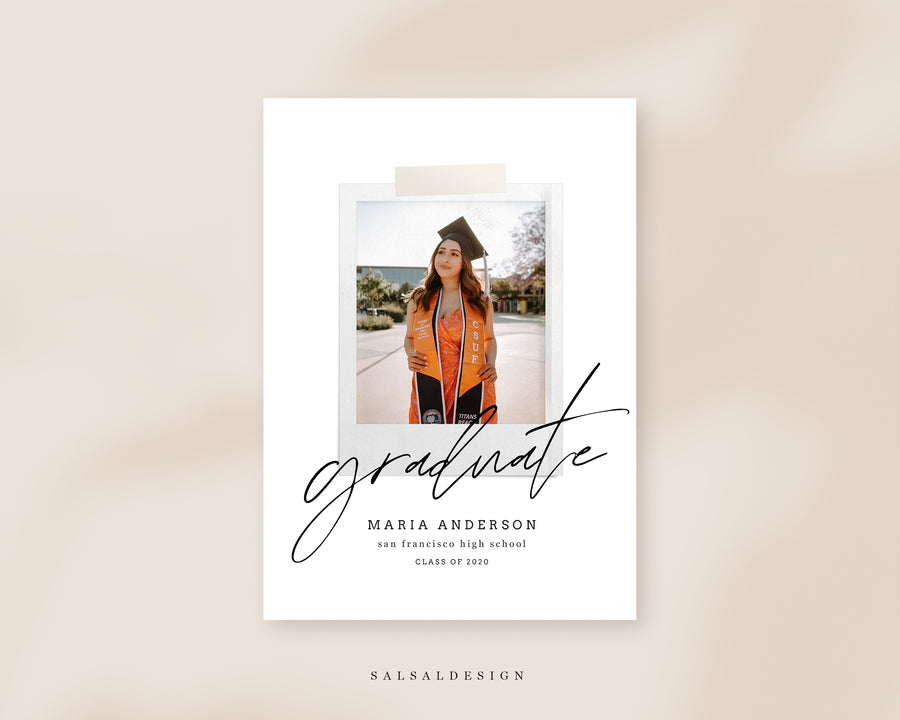 Graduation Senior Announcement Card Photoshop Template - Neutral