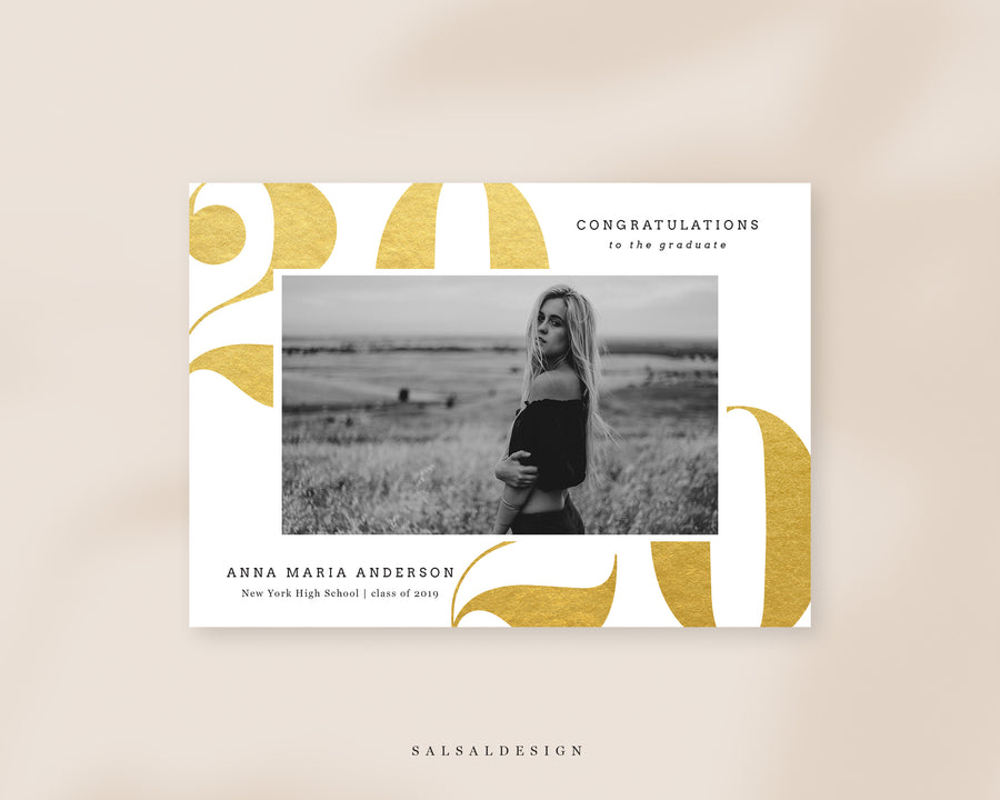 Graduation Senior Announcement Card Photoshop Template - Gold 2020