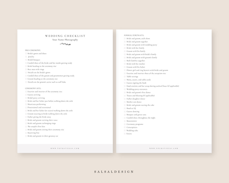 Wedding Photography Checklist - Business Forms