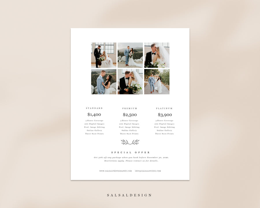 Wedding Photography Pricing Guide - Pricing List